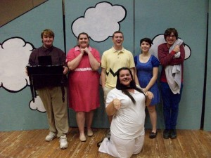 The cast poses before the first night's performance of Your'e a Good Man Charlie Brown (Photo: Miranda Barrett)