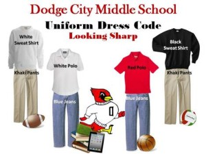 Dodge City, Kansas Public Schools require students to dress in casual-style uniforms even in public schools. (Credit: Dodge City Public School Website)