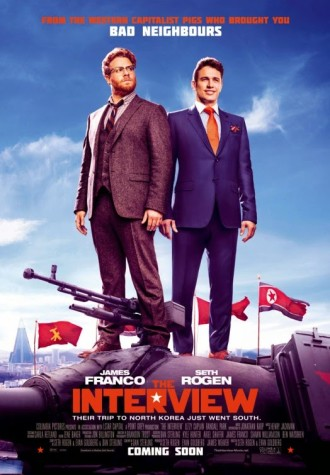 The movie poster for the film The Interview, which embroiled the US, North Korea, & Sony Pictures into controversy