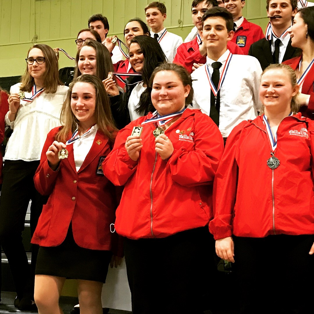 Students from PSHS Skills USA celebrate their medals